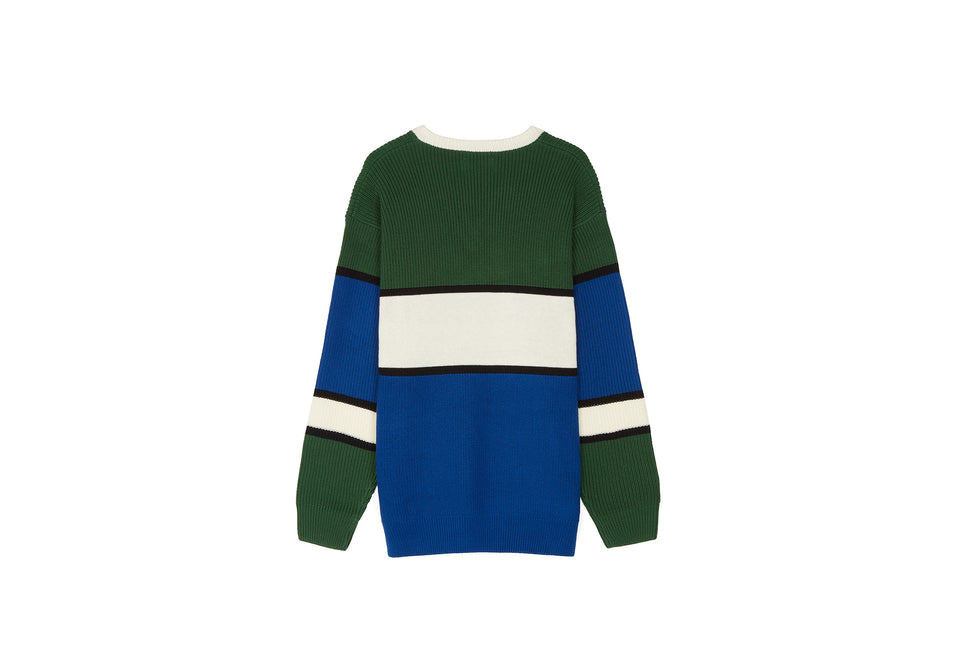 V-NECK COLOURBLOCK JUMPER TARTAN GREEN