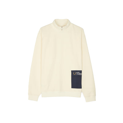 ZIP NECK SWEATSHIRT BUTTER CREAM