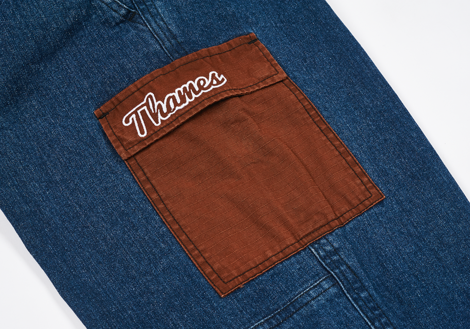 THAMES WORKPANTS WASHED DARK BLUE DENIM