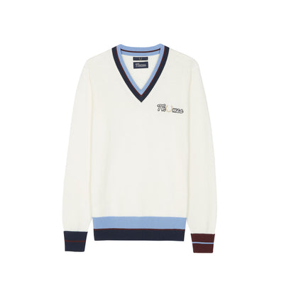 THAMES V-NECK JUMPER ECRU