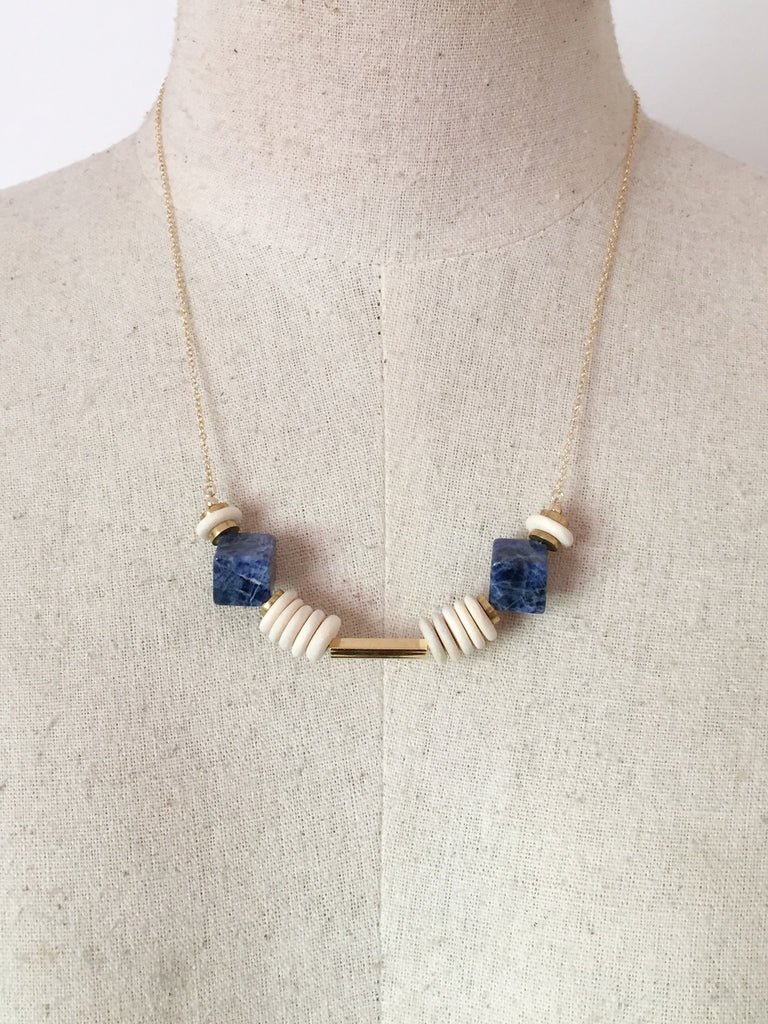 Double Sodalite on Wood and Brass Necklace