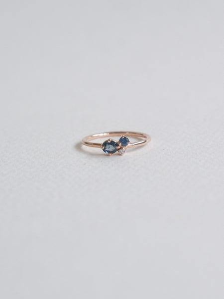 Bee Mine Ring - Blue Parti Sapphires and Diamond in 18k Rose Gold