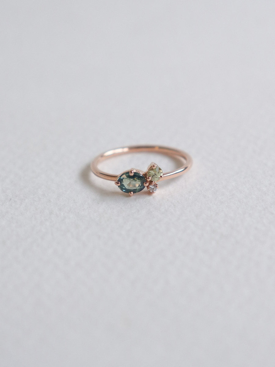 Bee Mine Ring - Green Sapphires and Diamond in 18k Rose Gold