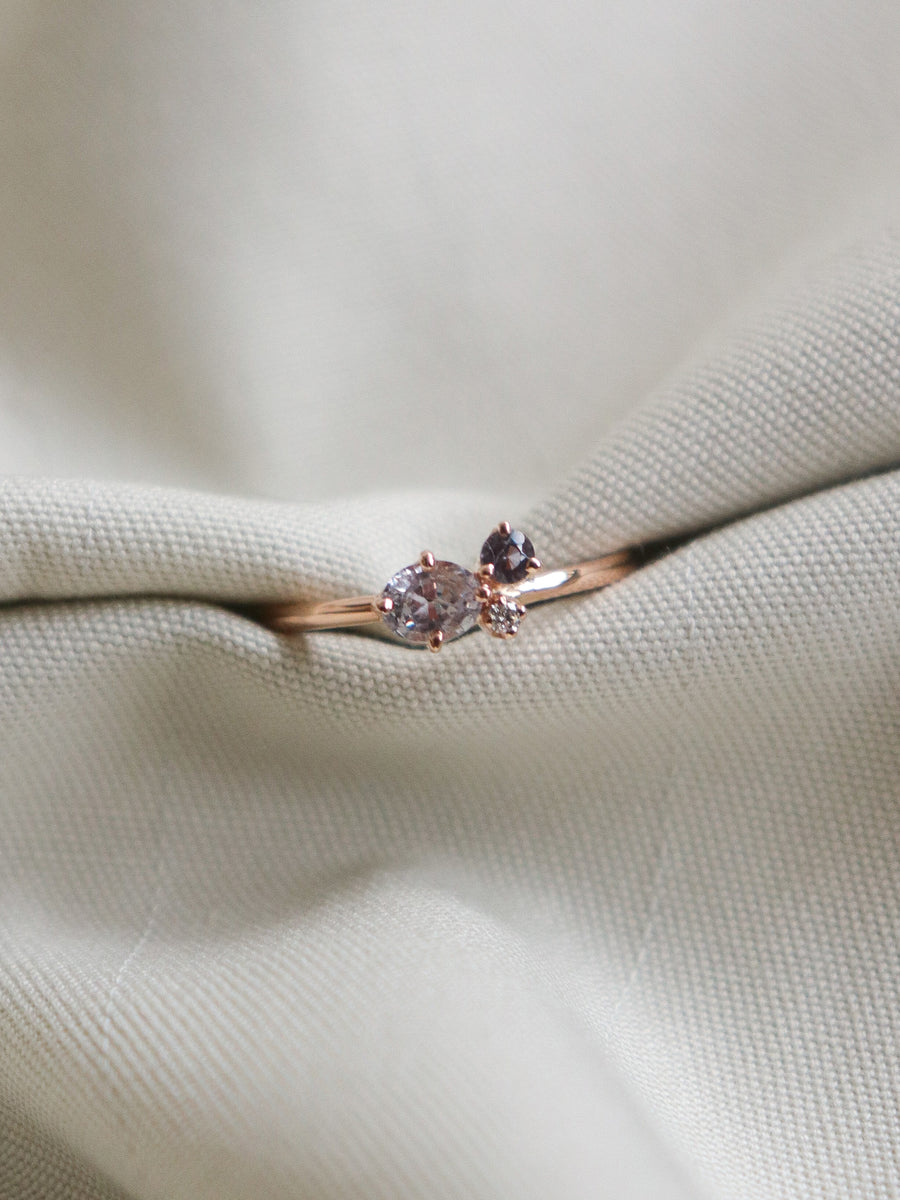 Bee Mine Ring - Pink Sapphires and Diamond in 18k Rose Gold