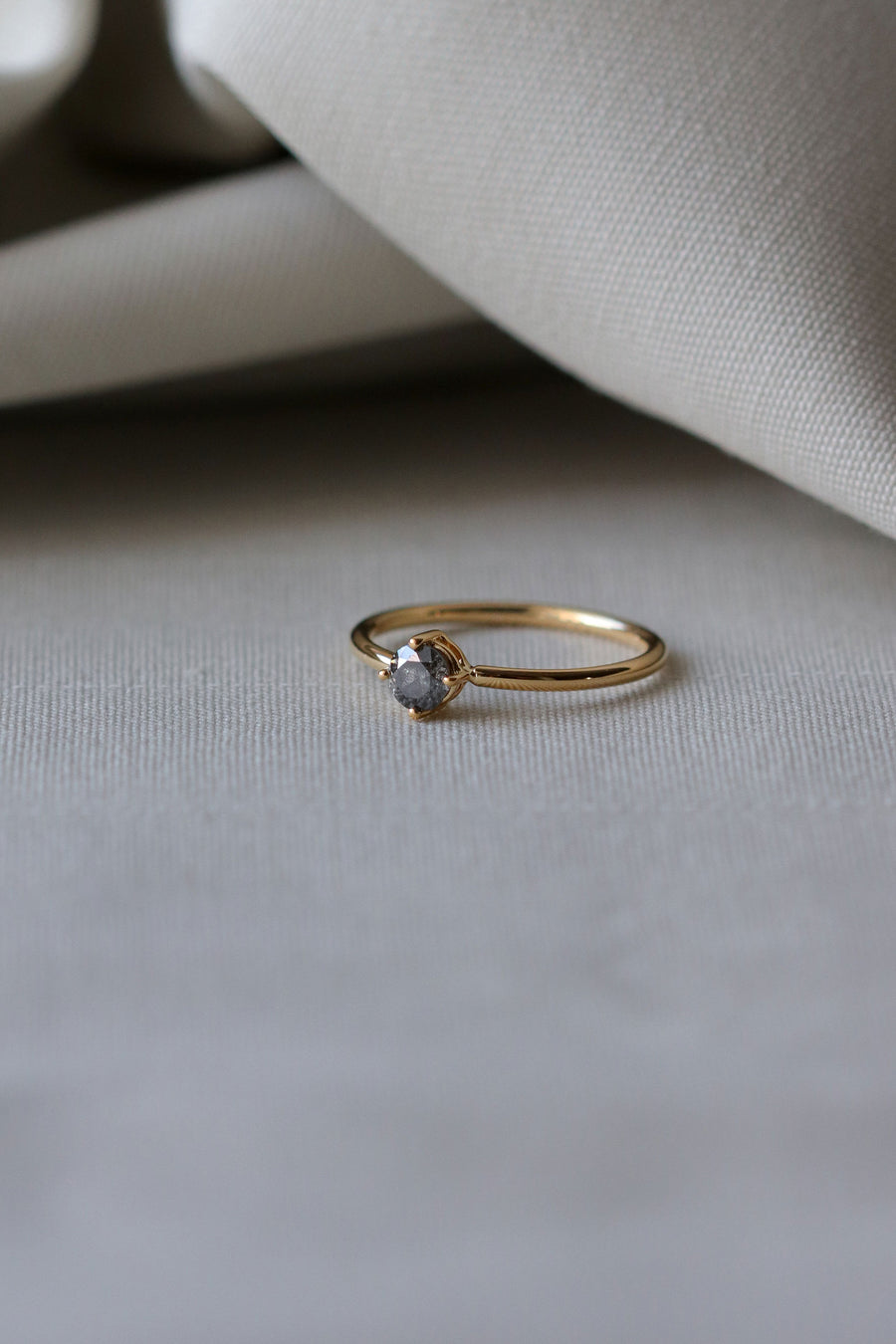 One-of-a-Kind Compass Ring - Round Salt and Pepper Diamond in 18k Gold