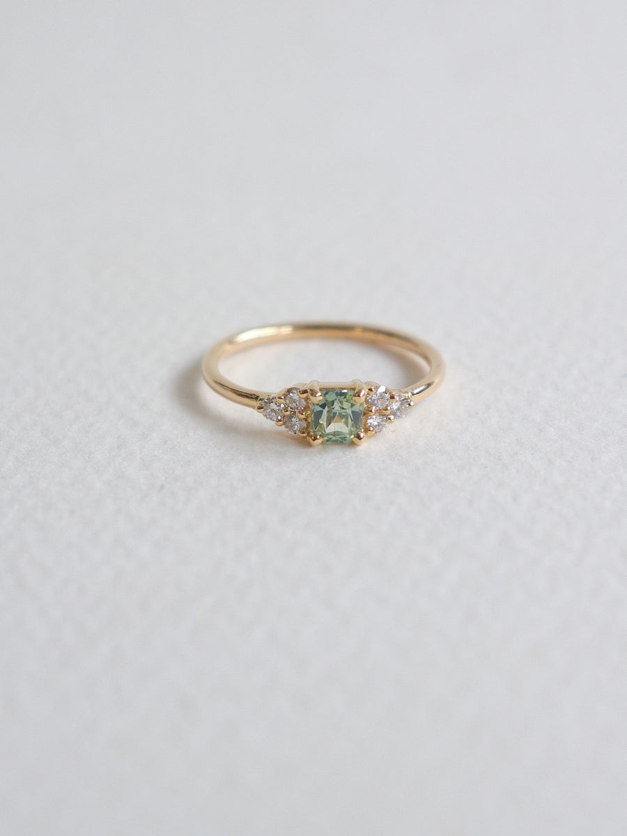 One-of-a-kind Companion Ring - Mint Parti Sapphire and Diamonds in 18k Gold