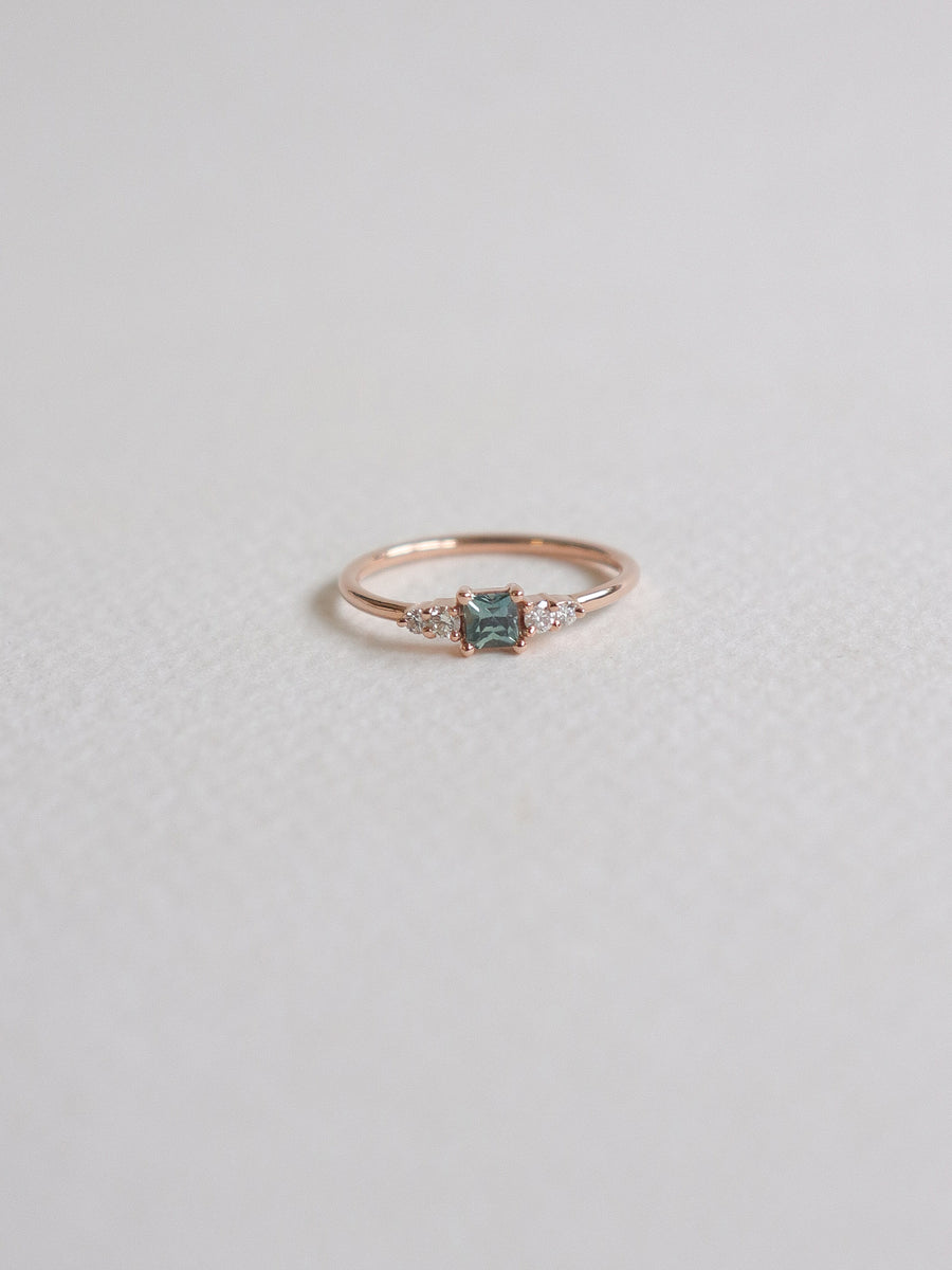 First Love Ring - Mint Parti Sapphire and Diamonds in 18k Rose Gold