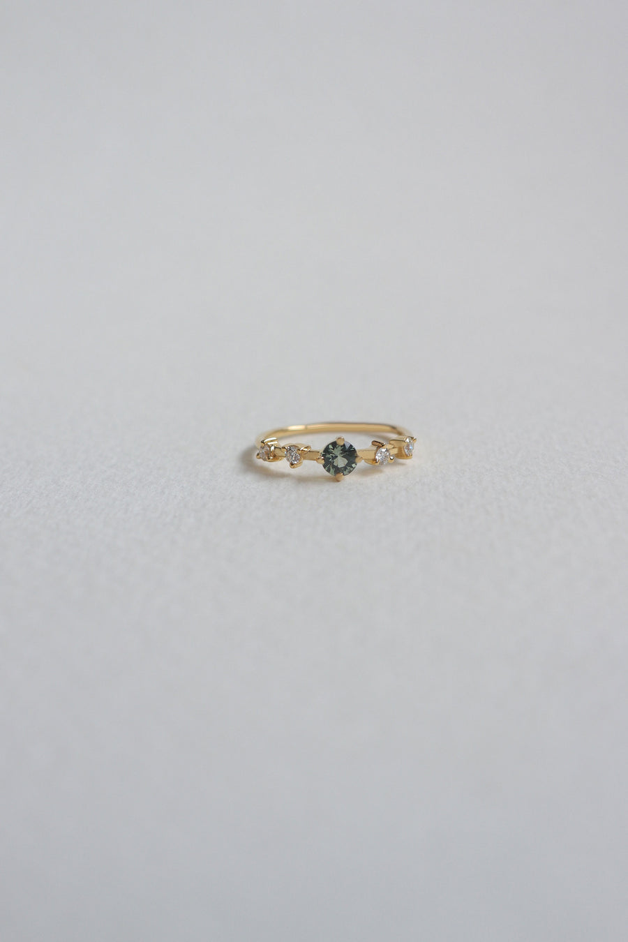 The Horizon Ring - Green Sapphire and Diamonds in 18k Gold