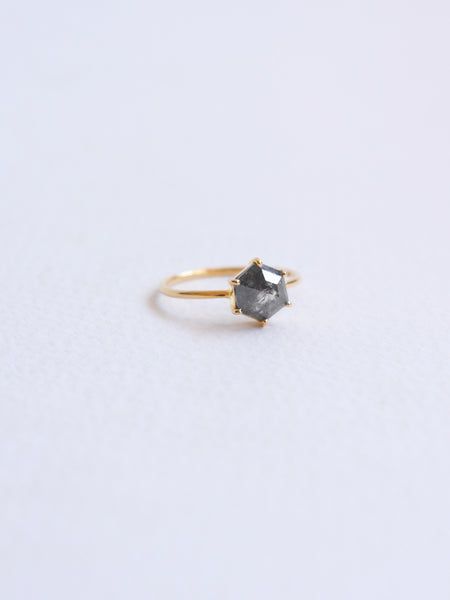 One-of-a-kind Only You Ring - Hexagon Salt & Pepper Diamond in 18k Gold