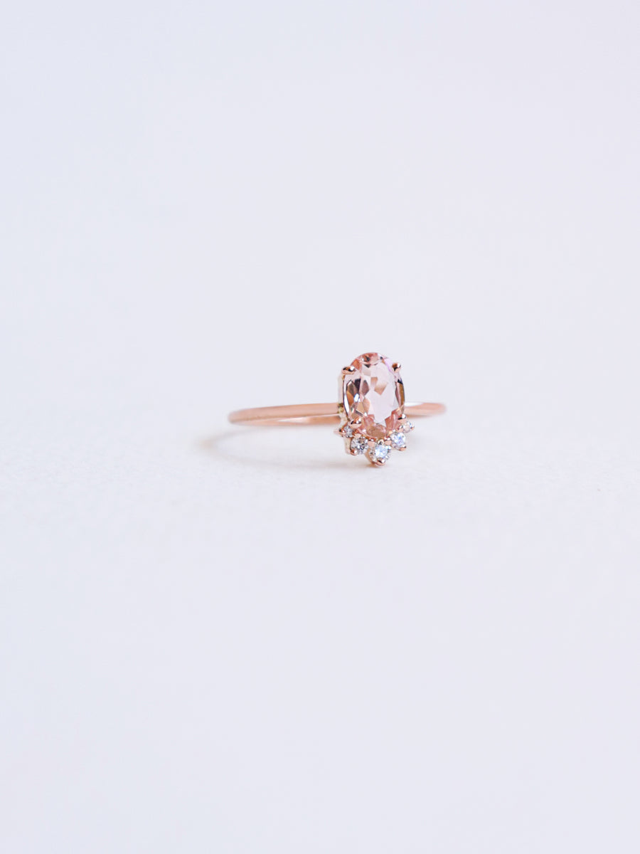 TLC Ring - Peach Morganite and Diamonds in 18k Rose Gold