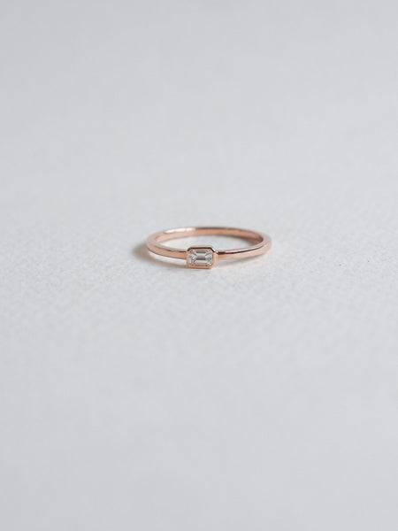 Unfold Ring - Emerald Cut Diamond in 18k Rose Gold