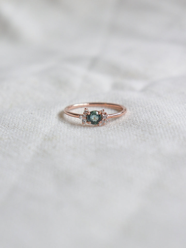 Wildflower Ring - Parti Sapphire and Diamonds in 18k Rose Gold