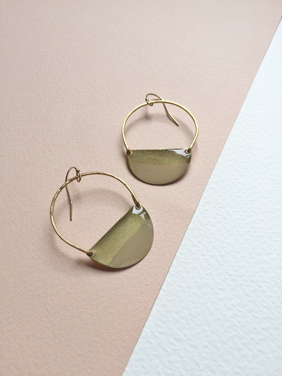 Color Dipped Crescent Hammered Earrings