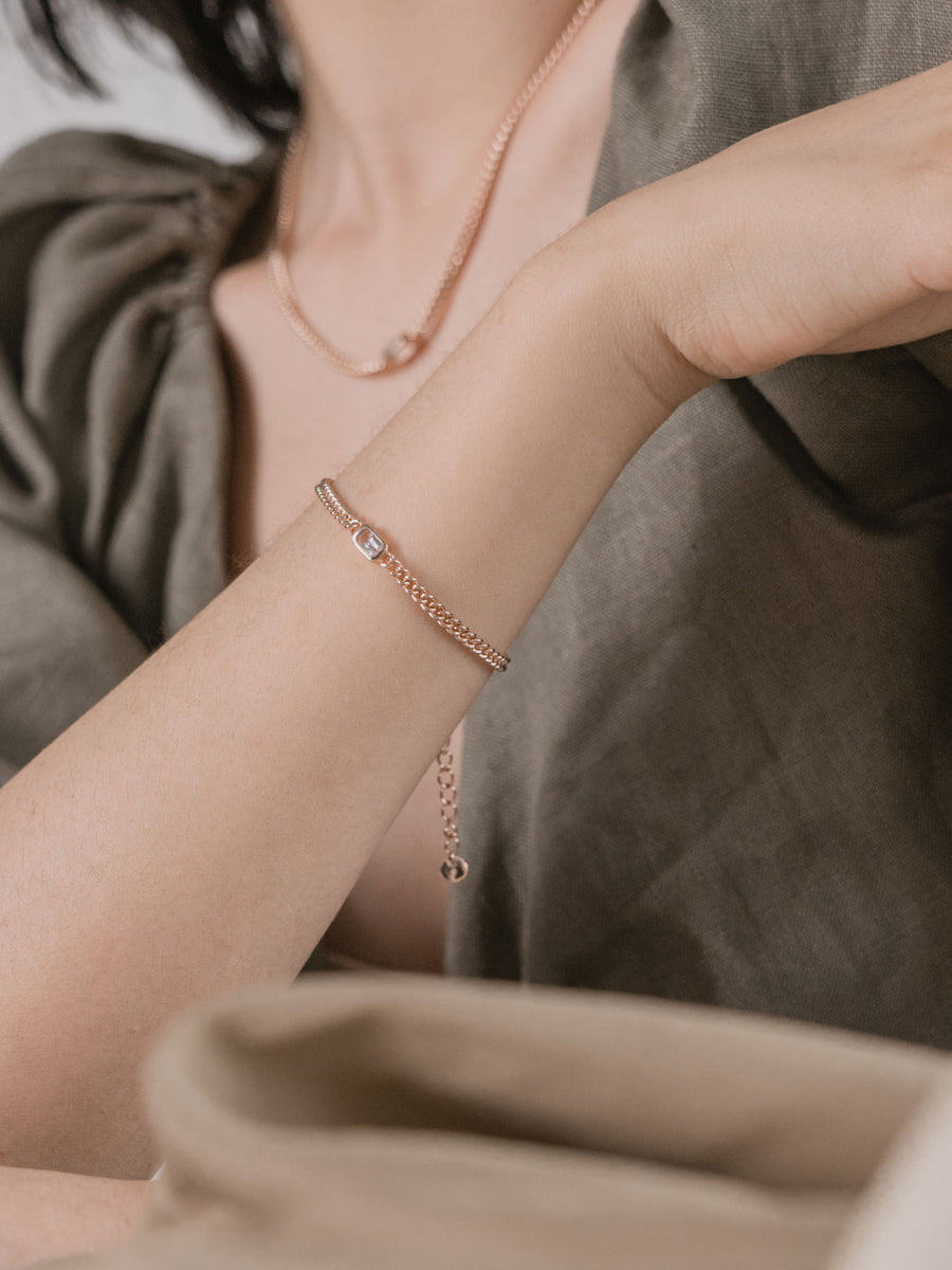 1940 Bracelet - White Topaz (Rose Gold)