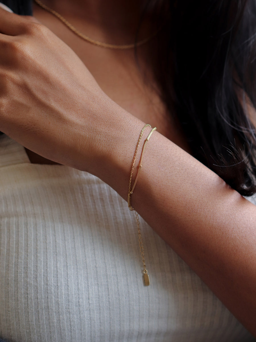 Satellite Layered Bracelet - Double Chain (Gold)