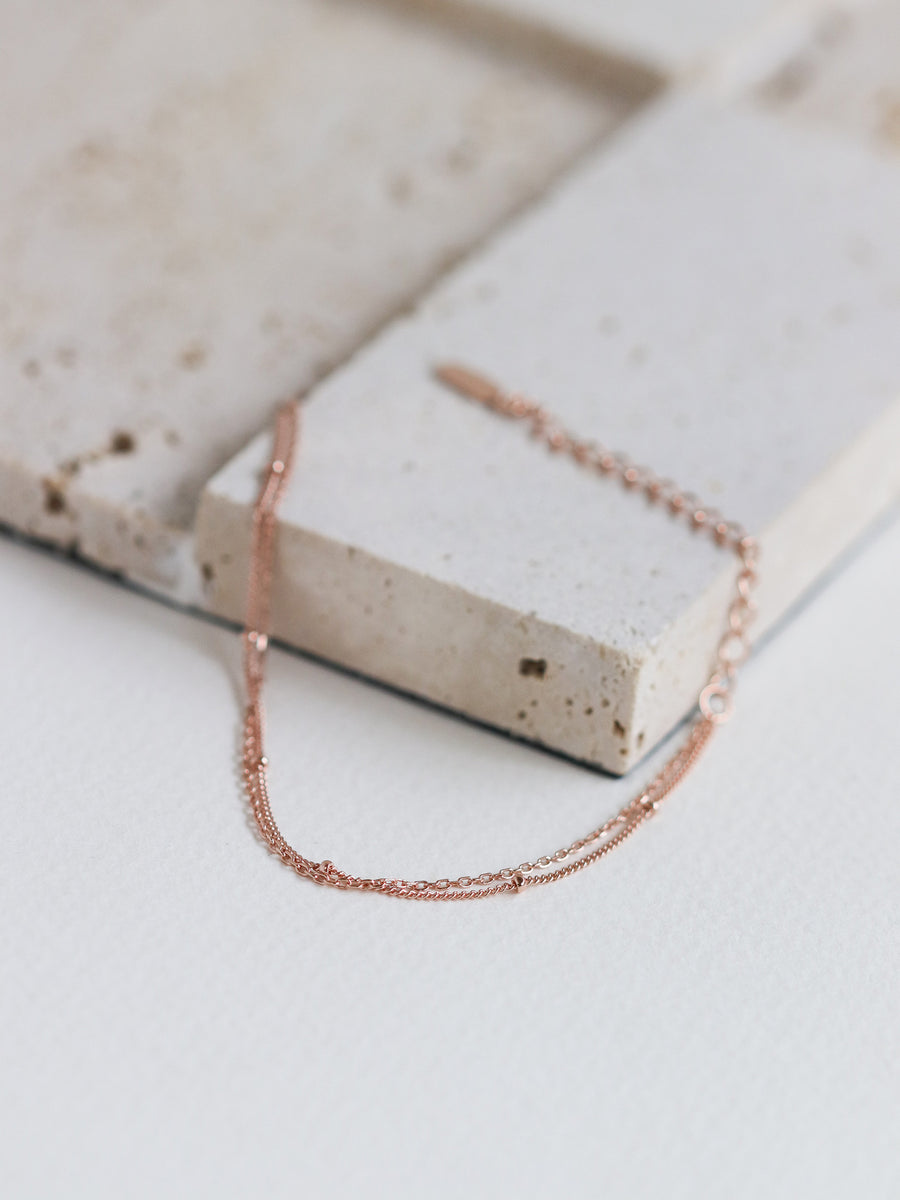 Satellite Layered Bracelet - Double Chain (Rose Gold)