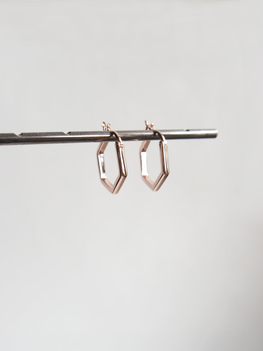 Hexagon Hoops (Rose Gold)