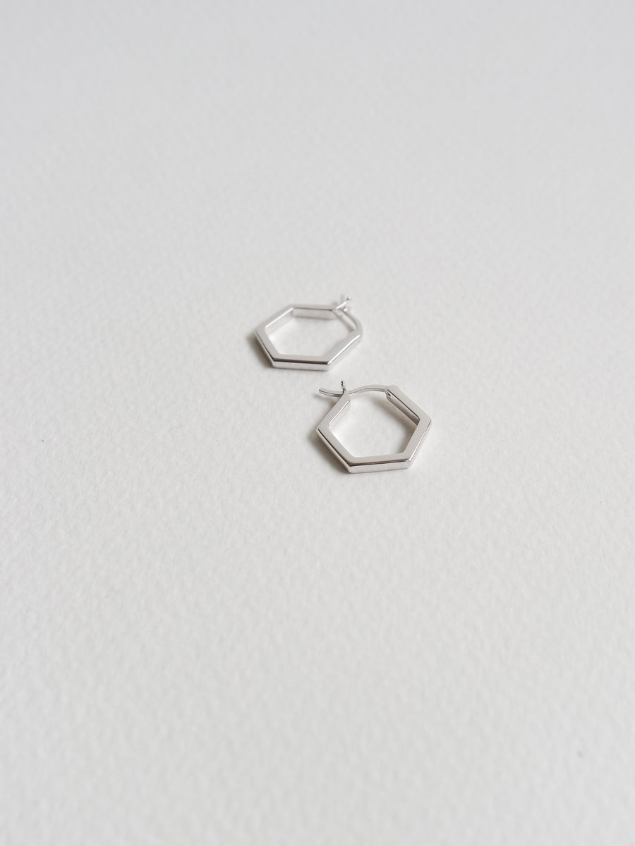 Hexagon Hoops (Silver)
