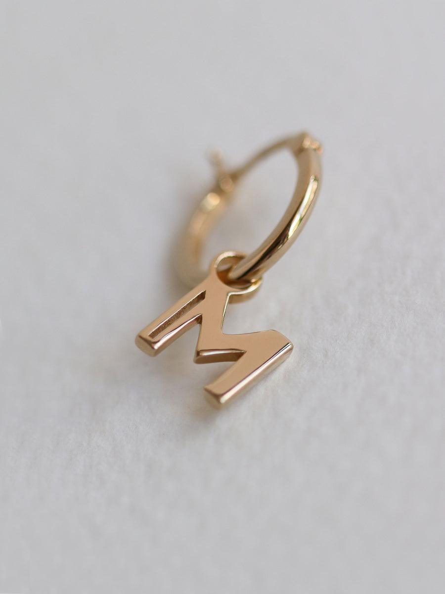 I Am Earring - A to Z Single Side Hoop Charm (Gold)