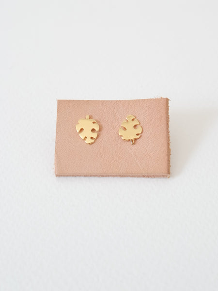 PLAIN - Monstera Earstuds - Gold / Silver