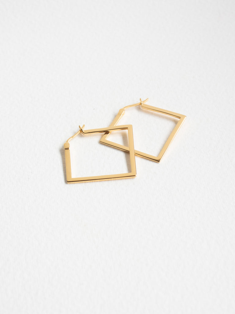 Square Hoops in Gold