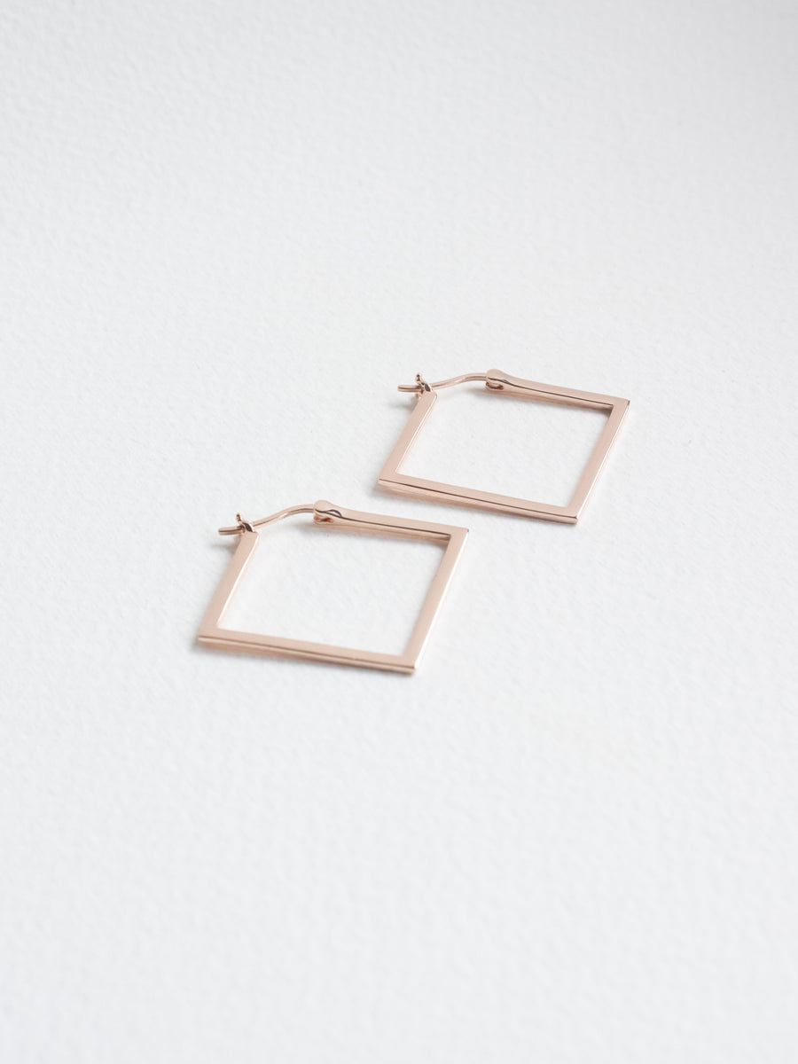 Square Hoops in Rose Gold