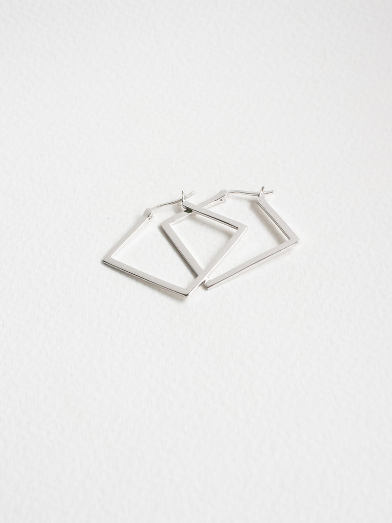 Square Hoops in Silver