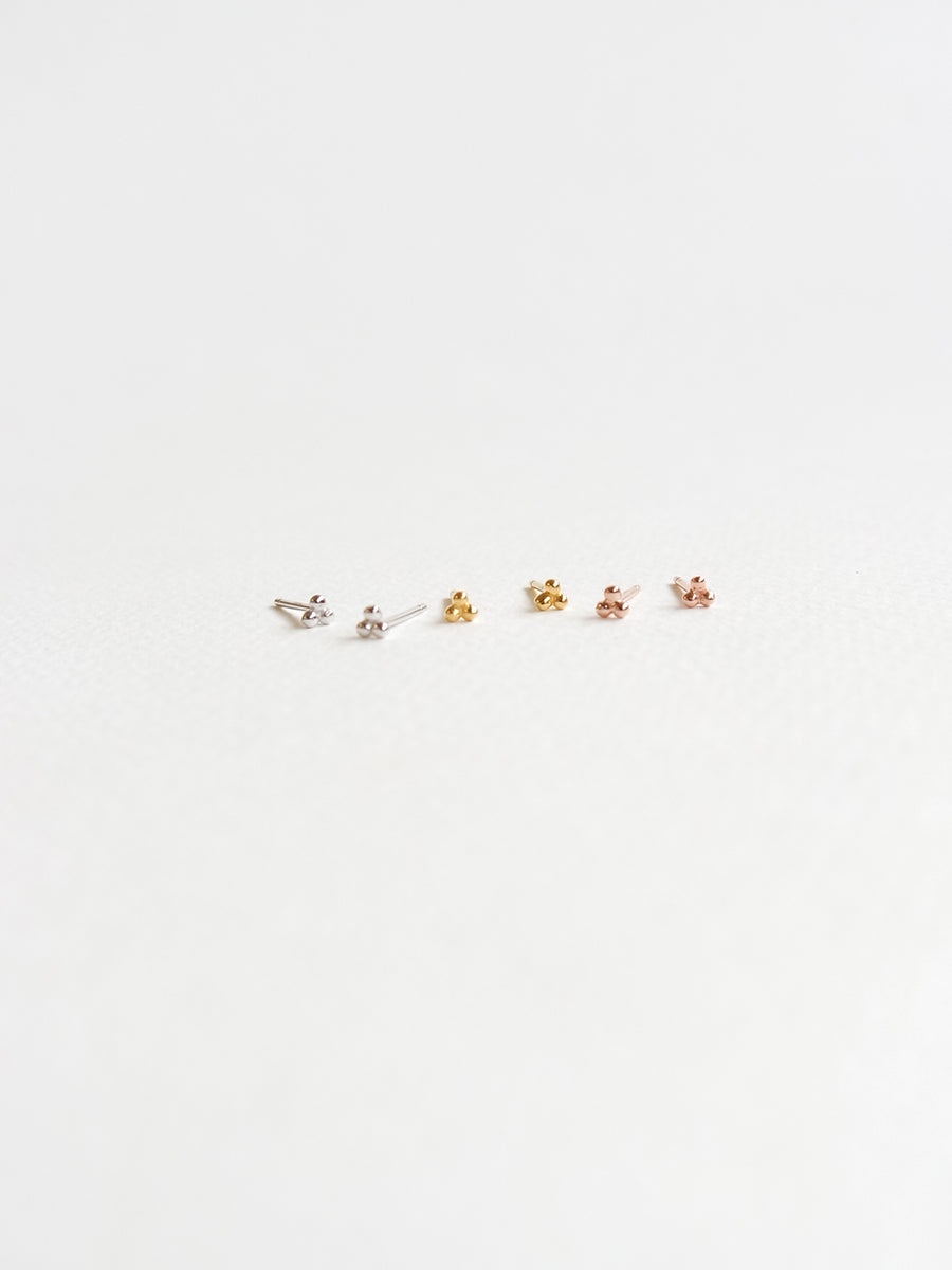 Trio Sphere Ear Studs (Rose Gold)