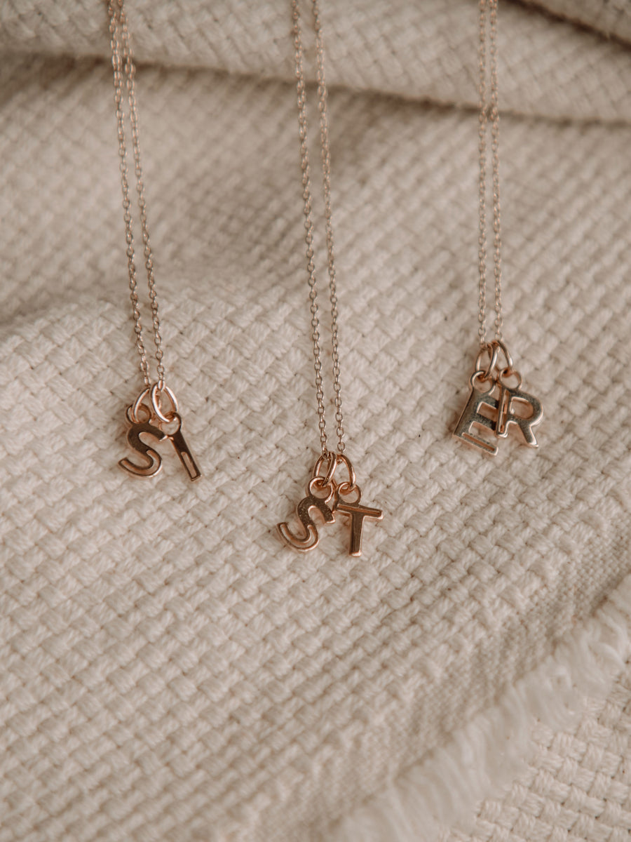I Am Necklace - A to Z Pendant with Chain (Rose Gold)