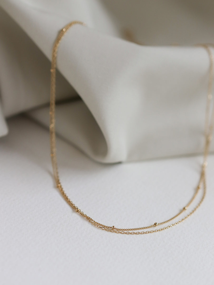 Satellite Layered Necklace - Double Chain (Gold)