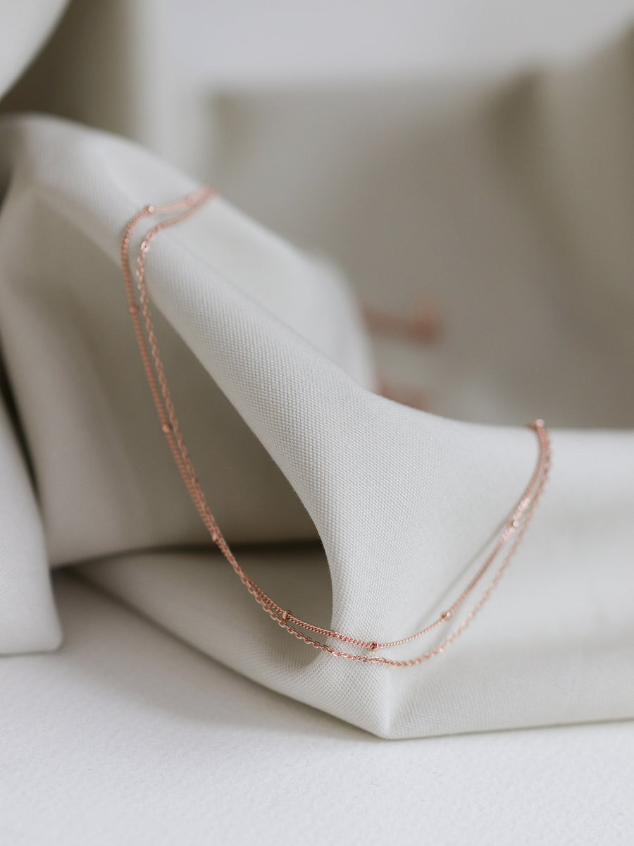 Satellite Layered Necklace - Double Chain (Rose Gold)