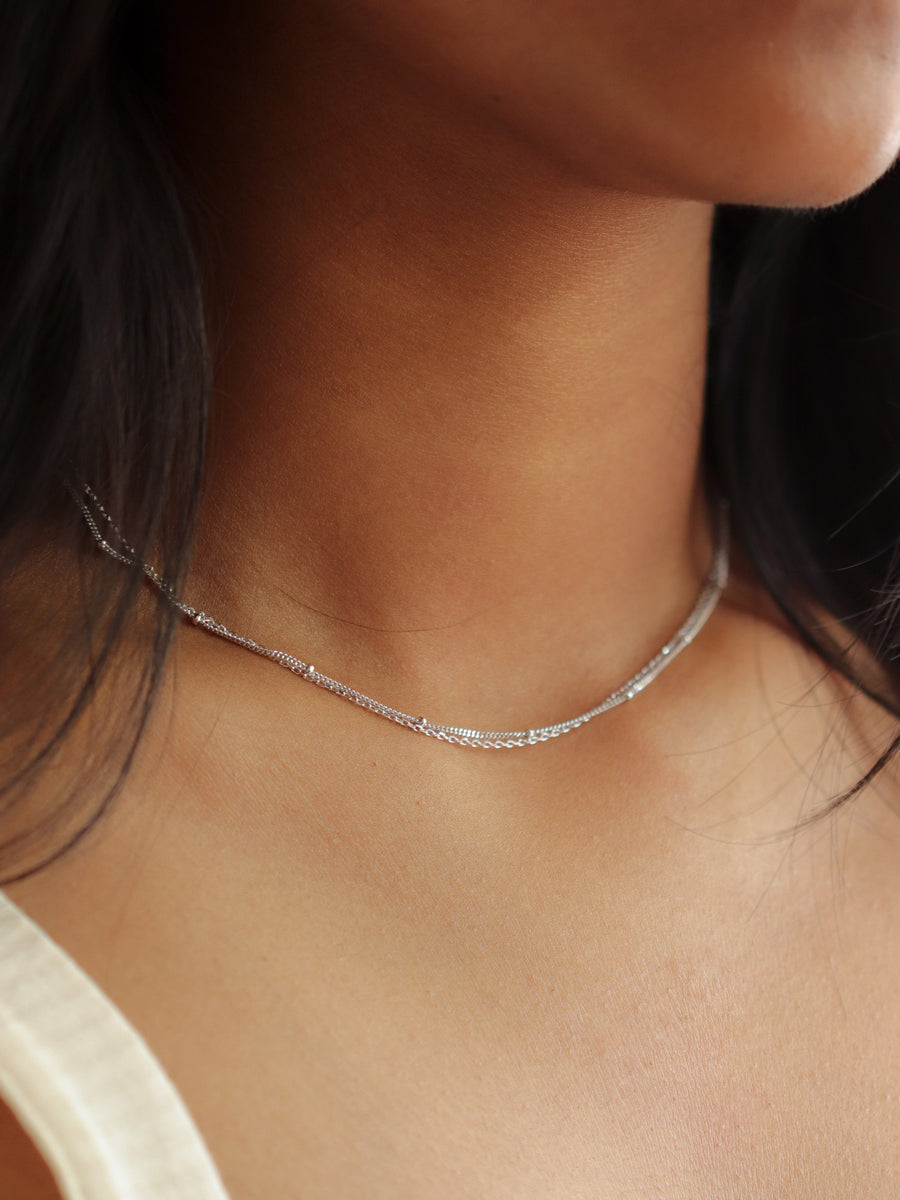 Satellite Layered Necklace - Double Chain (Silver)