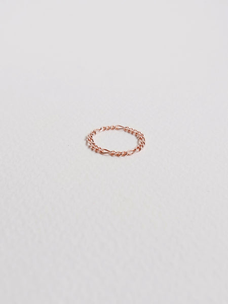 Figaro Chain Ring in Rose Gold