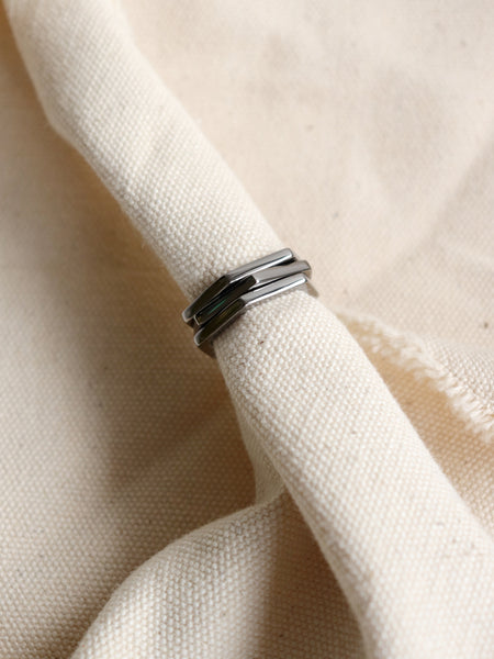 Hexagon Ring in Black Rhodium