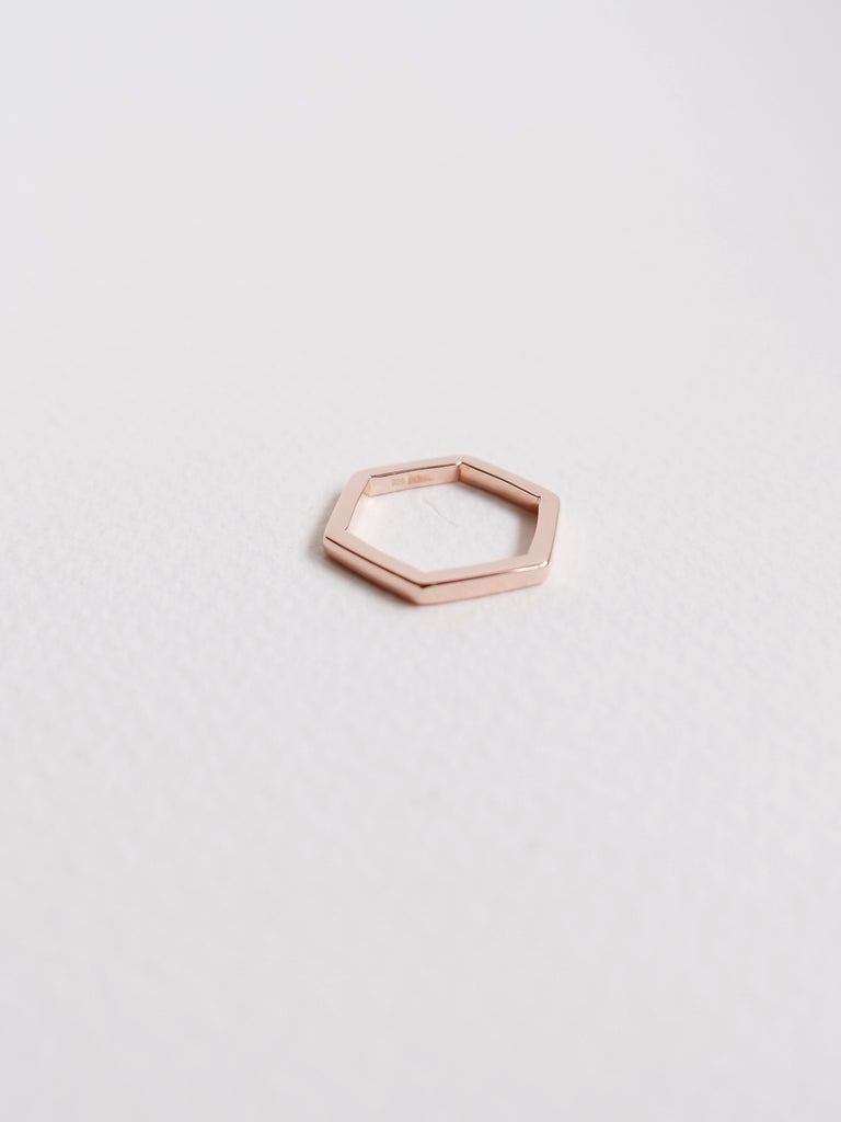 Hexagon Ring in Rose Gold
