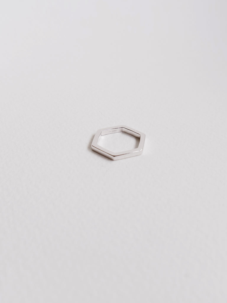 Hexagon Ring in Silver