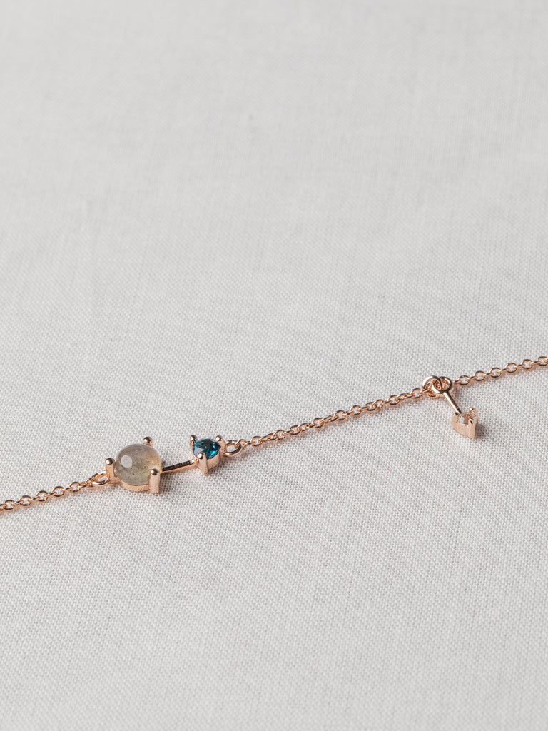 Joelle Bracelet - Labradorite, London Blue Topaz and White Topaz on Rose Gold