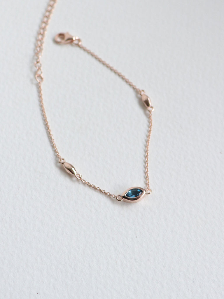 Louise Bracelet - London Blue Topaz Marquise in Rose Gold