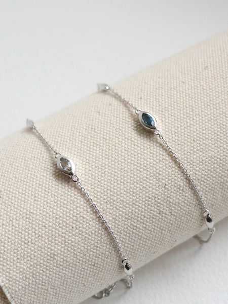 Louise Bracelet - London Blue Topaz Marquise in Silver