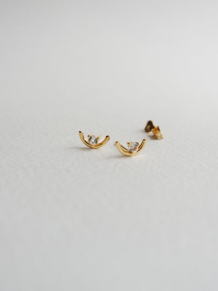 Bailee Earstuds - White Topaz in Gold