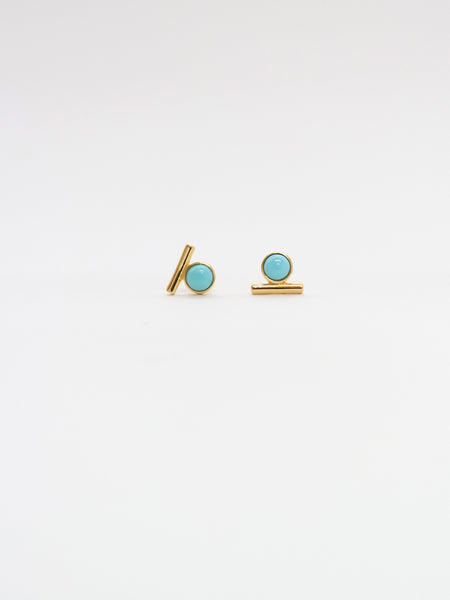 Bar Earstuds - Mexican Turquoise in Gold (Limited edition)