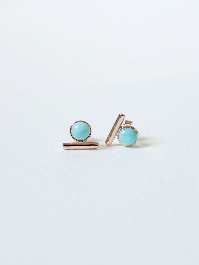 Bar Earstuds - Amazonite in Rose Gold