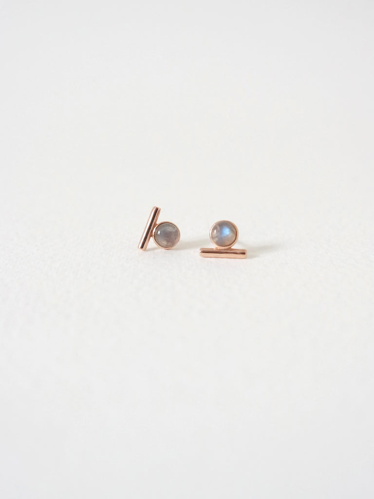 Bar Earstuds - Labradorite in Rose Gold