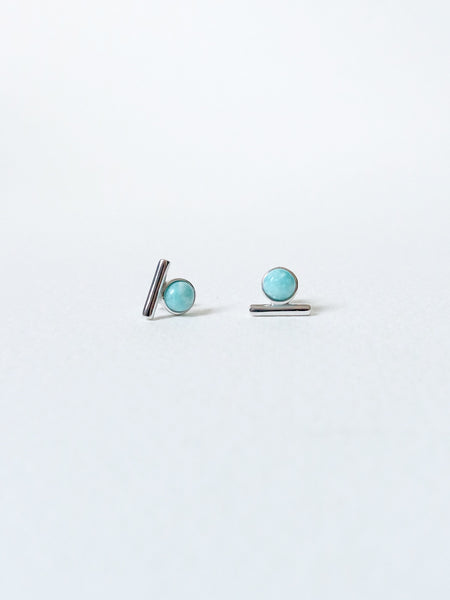Bar Earstuds - Amazonite in Silver