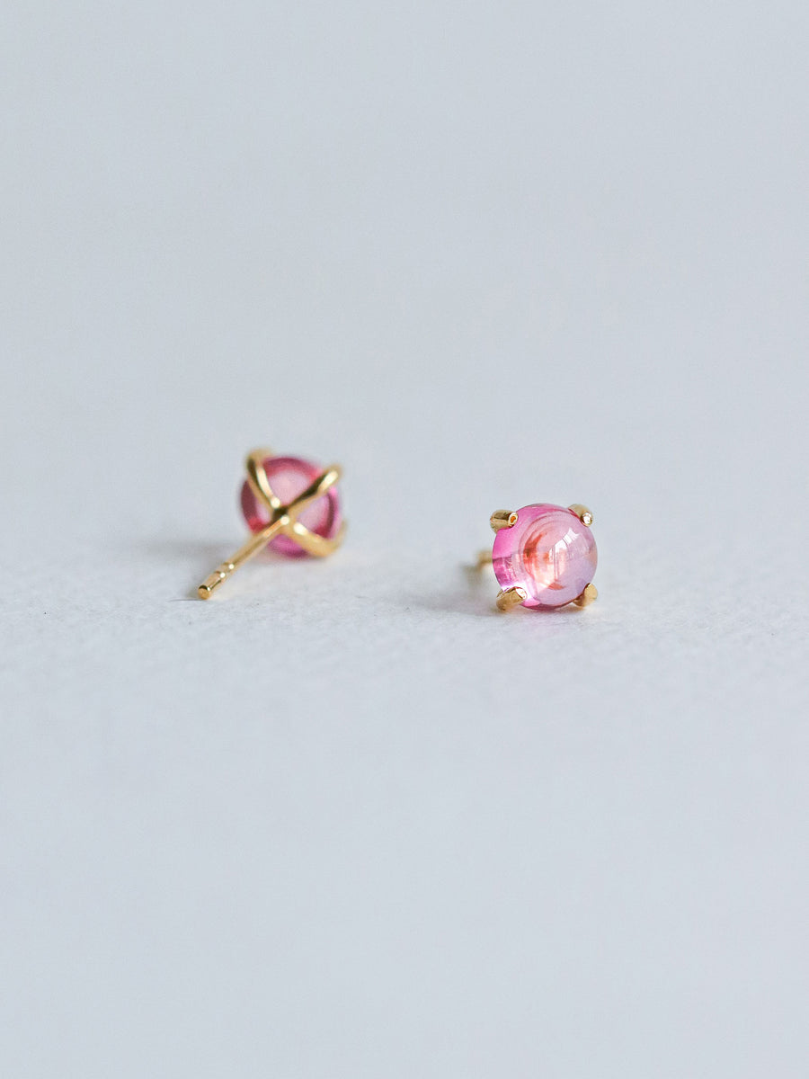 Basic Ear Studs - Pink Topaz (Gold)
