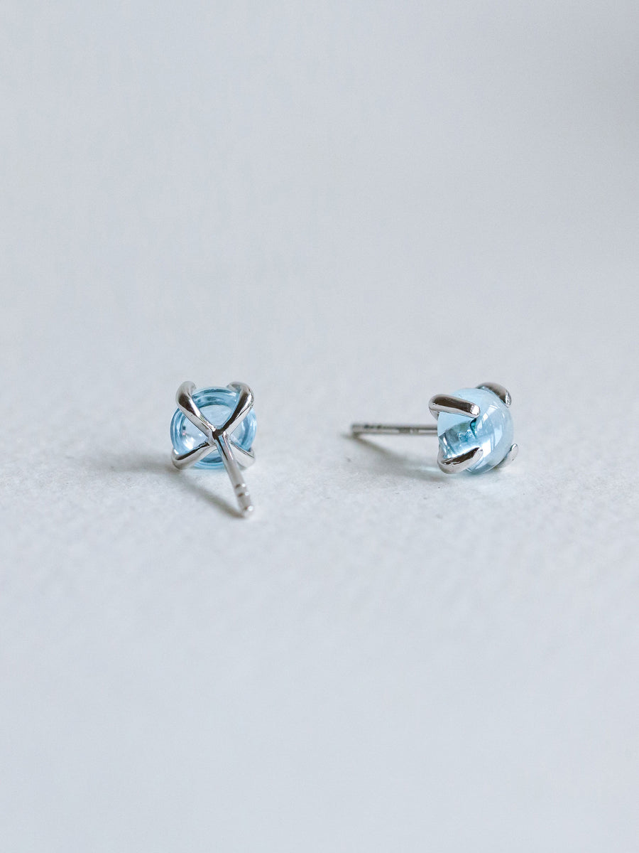 Basic Ear Studs - Blue Topaz (Silver)