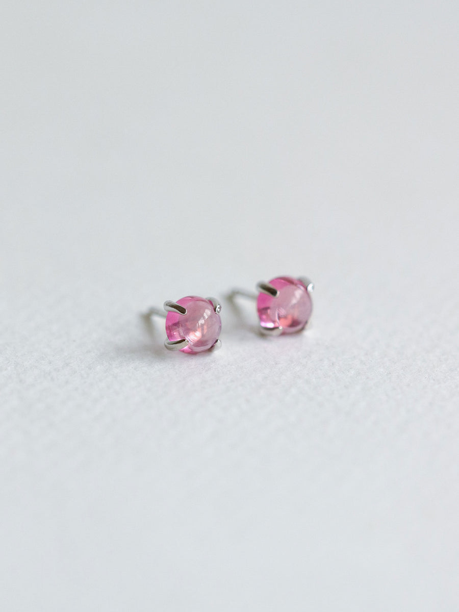 Basic Ear Studs - Pink Topaz (Silver)
