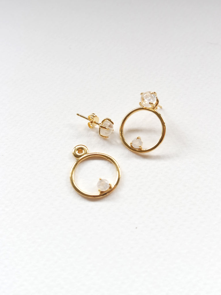 Beth Ear-Jacket Set - Moonstone in Gold