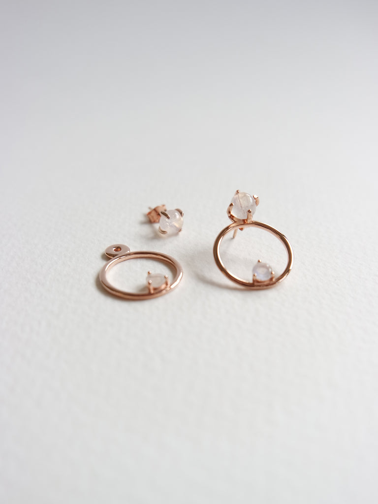 Beth Ear-Jacket Set - Moonstone in Rose Gold