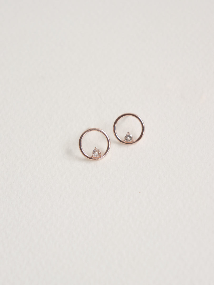 Bri Earstuds - White Topaz in Rose Gold